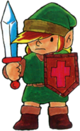 TLoZ Link Holding Sword and Shield Artwork