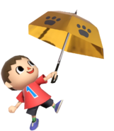 0.13.Red Villager holding up an Umbrella