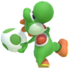 1.3.Green Yoshi preparing to throw an Egg