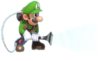7.Luigi using his Poltergust for Ice