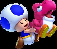 Magenta Yoshi and Blue Toad NSMBW2 2012