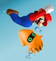 Swimming Mario and Bloop
