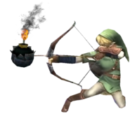 0.6.Twilight Princess Link preparing to shoot a bomb arrow