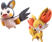 Pokken Emolga and Fennekin
