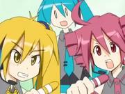 Kasane Teto and Akita Neru with their crayons