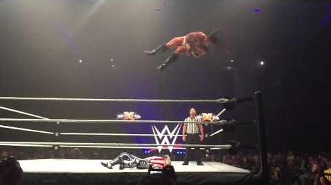 Adrian Neville slow motion red arrow finisher at WWE live in Newcastle 12 November 2014