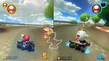 Mario racing King Boo in GCN Yoshi Circuit