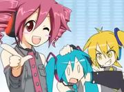 Akita Neru bullies Hatsune Miku and Kasane Teto holds up her finger