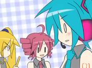 Hatsune Miku talking to Kasane Teto and Akita Neru