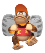 1.12.Diddy Kong preparing his Silver Rocket Barrel Pack