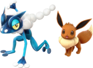 Pokken Frogadier and Eevee