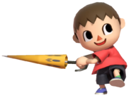 0.11.Red Villager holding an Umbrella