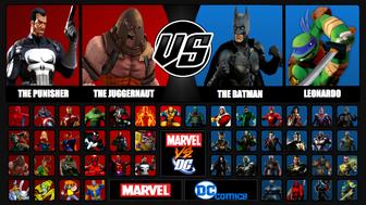 Marvel vs. DC roster screen