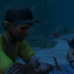Oliver and Riley durante a alucinação de Jason