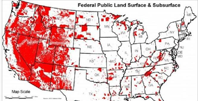 Image 16 US map of federal public land surface and subsurface