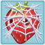 Strawberry under cobweb