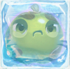 Apple grumpy under ice