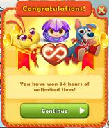 24 hours of unlimited lives reward
