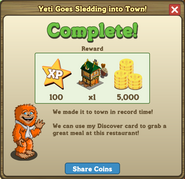 Yeti Goes Sledding into Town Completed Message