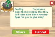 Feeding neifbours coop with egg