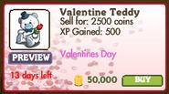 Valentine Teddy Market Info