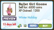 Ballet Girl Gnome Market Info