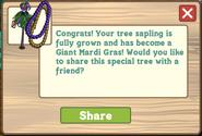 Giant Mardi Gras Tree Growth Message
