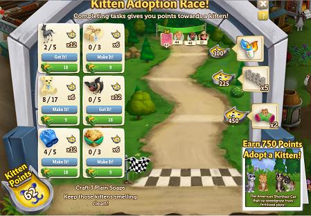 The Kitten Adoption Race is a adoption race quest. The official start date  is August 17, 2015, but players can start up to a week early for $8.