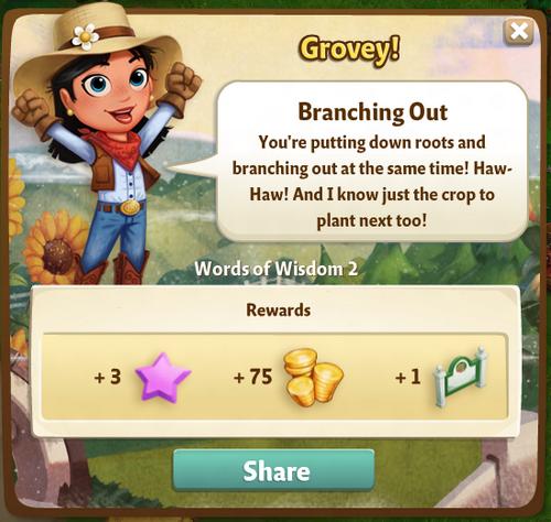 Branching Out Reward