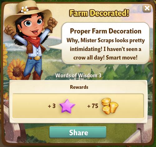 Proper Farm Decoration Reward