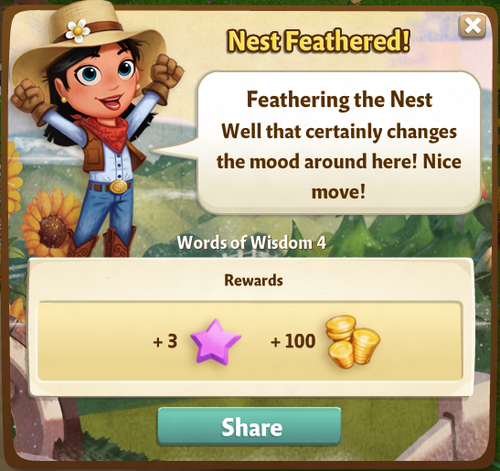 Feathering the Nest Reward