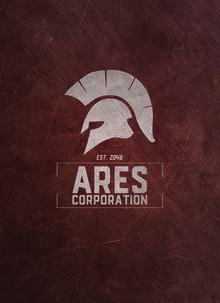 Ares Corp Logo on Red