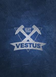 Vestus Logo on Blue Meta