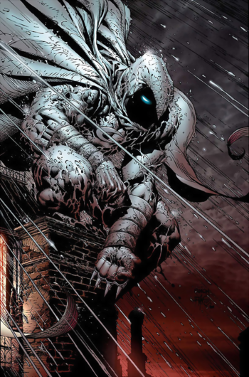 Marvel Comics - Moon Knight standing on the ledge while it's raining