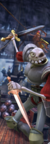 MediEvil - Sir Daniel Fortesque fighting undead pirates