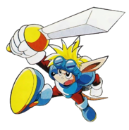 Rocket Knight - Sparkster as he appears in Sparkster- Rocket Knight Adventures 2
