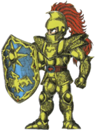 Ghosts 'n Goblins - Sir Arthur wearing Golden Armor and wielding Shield