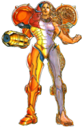 Metroid - Half X-Ray Vision of what Samus Aran's suit looks like according to the Super Metroid Nintendo Player's Guide