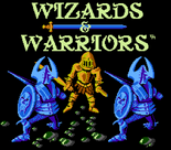 Wizards & Warriors - Kuros in shining armor engaged as he appears on the title screen of Wizards & Warriors