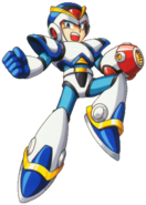 Mega Man X - Mega Man X wearing his First Armor on the front box art of Mega Man X