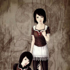 Artwork of Mio and Mayu.