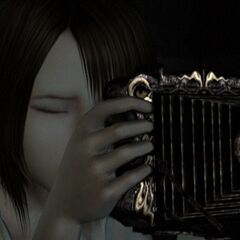 Madoka holds an old camera obscura in <i>Fatal Frame IV</i>
