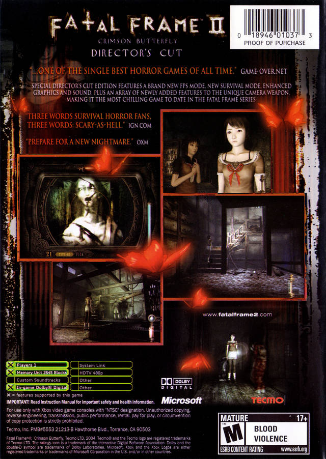 Image - FF II DC US back cover.jpg   Fatal Frame Wiki   FANDOM ...