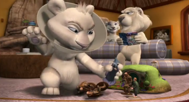 File:Father of the Pride Hunter Playing with Lord of the Rings Toys.png
