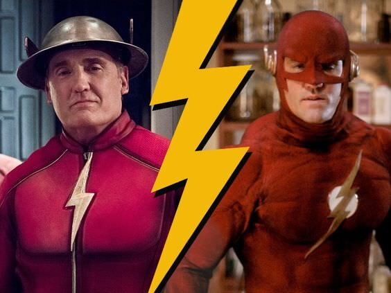 Shipp as Jay Garrick (left) in the 2014 Flash and Barry Allen (right) in the original