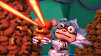 Make sure their eyes shoor laser beams