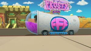 Frosty Bus pulls up