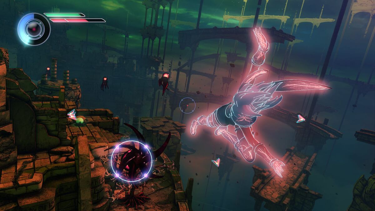 Kat uses her gravity-shifting abilities in Gravity Rush 2.