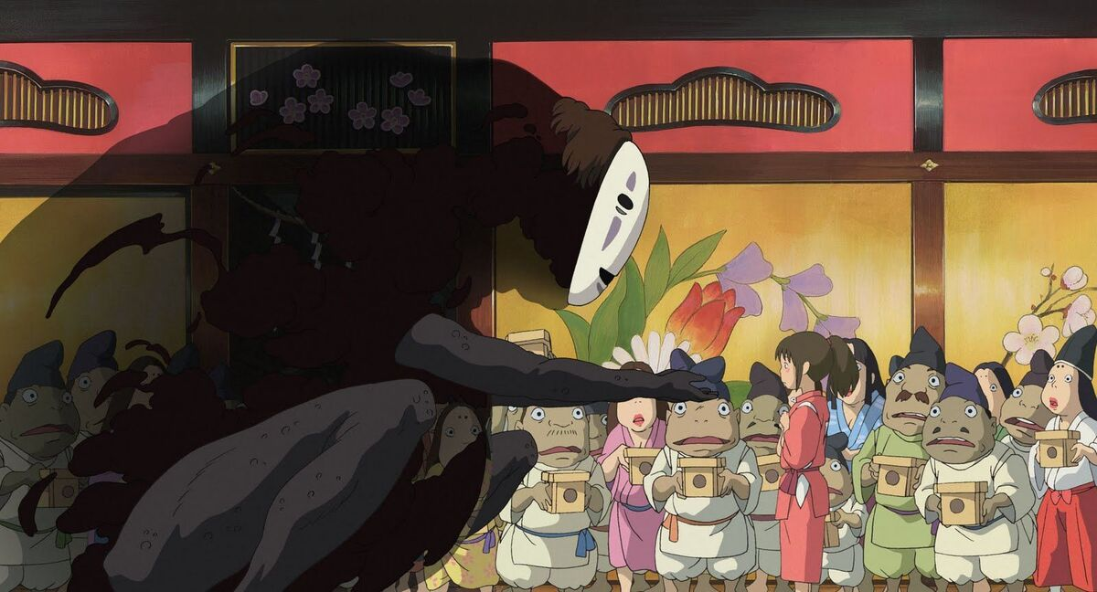 No-Face offering Chihiro material possessions in Spirited Away