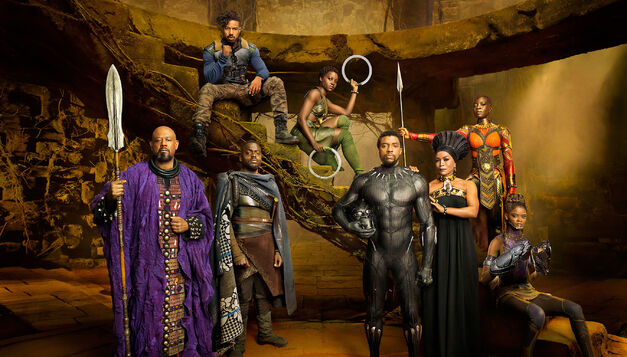 Black Panther cast posing for an Entertainment Weekly shoot.
